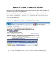 Internet Windows 8 / Explorer 10 compatibility guidelines