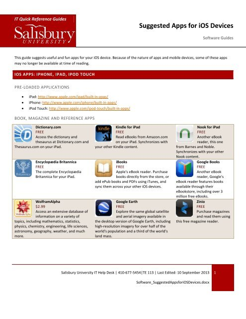 Suggested Apps for iOS Devices - Salisbury University