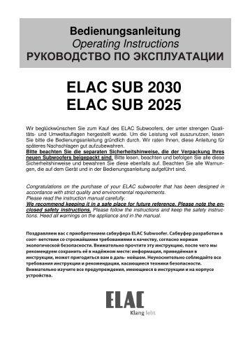 Bedien- und Anschlusselemente - Elac