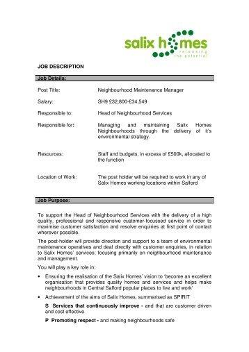 JOB DESCRIPTION Job Details: Post Title ...   Salix Homes