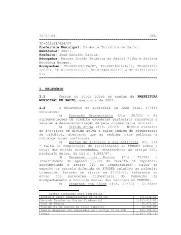 Parecer 2007 2163-026-07 - Prefeitura da Estância Turística de Salto