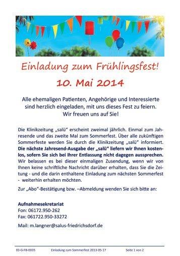 Einladung zum Frühlingsfest! 10. Mai 2014 - salus kliniken GmbH