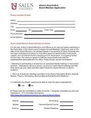 Alumni Association Board Member Application - Salus University