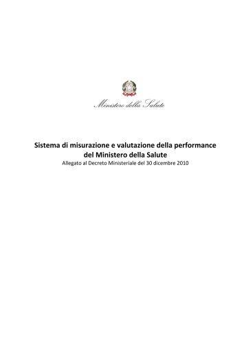 Sistema di misurazione e valutazione della performance del ...