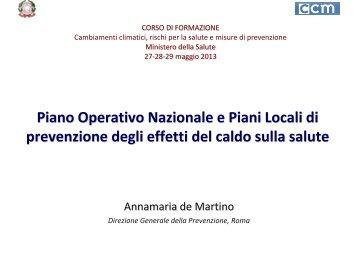 Il Piano operativo nazionale e piani locali di prevenzione degli effetti ...