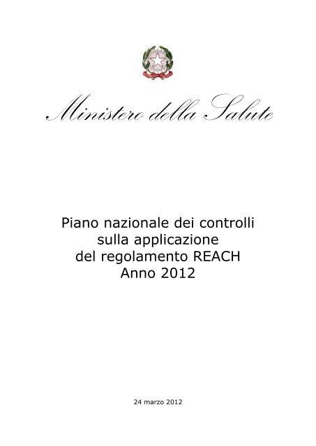 Piano nazionale dei controlli Reach, anno 2012 - Ministero della ...