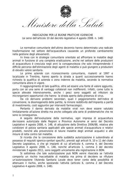 Indicazioni per le buone pratiche igieniche - Ministero della Salute