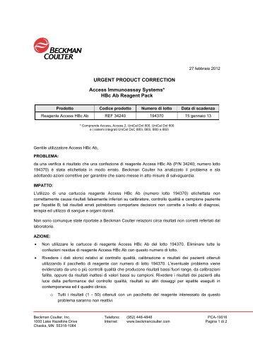 Access HBc Ab - Ministero della Salute