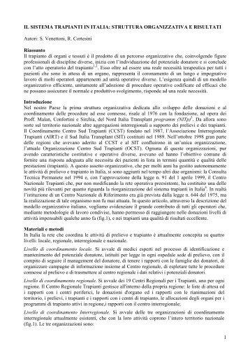 Il sistema trapianti in Italia: struttura organizzativa e risultati