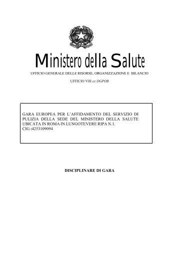 Disciplinare di gara RETTIFICATO - Ministero della Salute