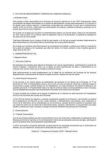 II.- POLITICA DE ABASTECIMIENTO. EMPRESA ... - Salvador Allende