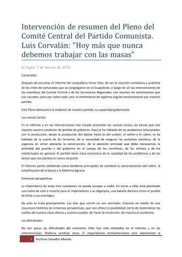 """Luis Corvalán: """"Hoy más que nunca debemos ... - Salvador Allende"""