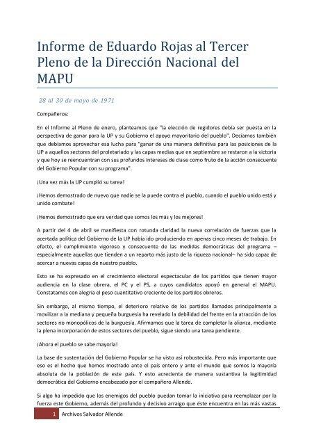 Informe de Eduardo Rojas al Tercer Pleno de la ... - Salvador Allende
