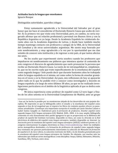 Actitudes hacia la lengua que enseñamos - Universidad del Salvador