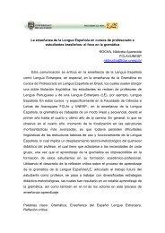 La enseñanza de la Lengua Española en cursos de profesorado a ...