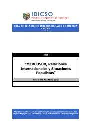MERCOSUR, Relaciones Internacionales y Situaciones Populistas