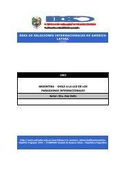 Argentina-Chile a la luz de los paradigmas internacionales.