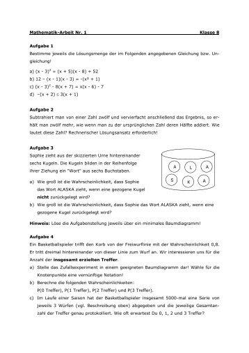 Mathematik-Arbeit Nr. 1 Klasse 8 Aufgabe 1 Bestimme jeweils die ...