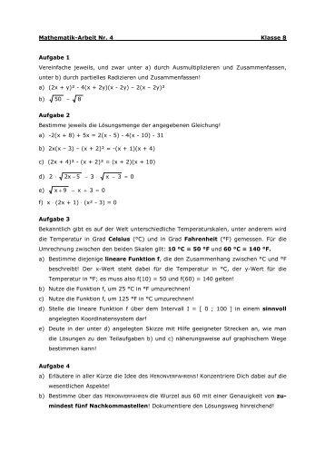 Wiederholung aus der Mathematik Klasse 8 Aufgabe 1 Franz hat ...