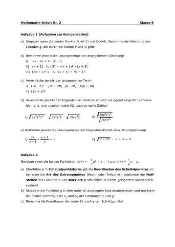 Mathematik-Arbeit Nr. 2 Klasse 9 Aufgabe 1 (Aufgaben zur ...