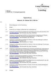 Tagesordnung Mittwoch, 30. Oktober 2013, 9:00 Uhr - Land Salzburg