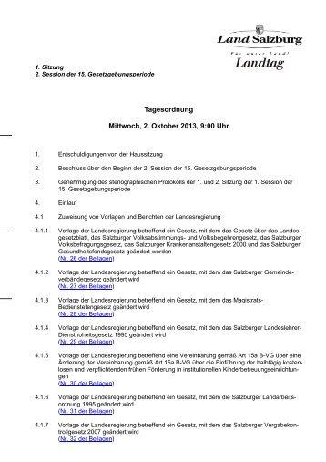 Tagesordnung Mittwoch, 2. Oktober 2013, 9:00 Uhr - Land Salzburg