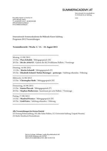 Internationale Sommerakademie für Bildende Kunst Salzburg ...