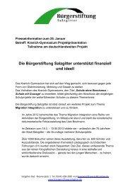 Bürgerstiftung Salzgitter: Pressemitteilung ... - Stadt Salzgitter