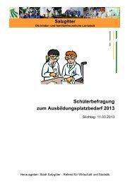Ergebnisse der Schülerbefragung 2013 - Stadt Salzgitter