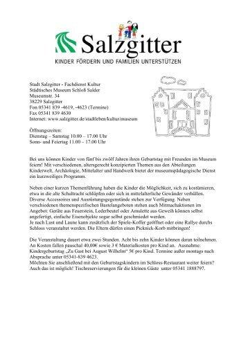 Stadt Salzgitter - Fachdienst Kultur Städtisches Museum Schloß ...