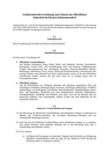 Gefahrenabwehrverordnung - Flecken Salzhemmendorf