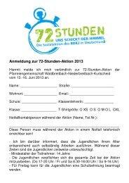 Anmeldung zur 72-Stunden-Aktion 2013