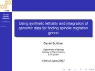 Using synthetic lethality and integration of ... - SAM - ETH Zürich