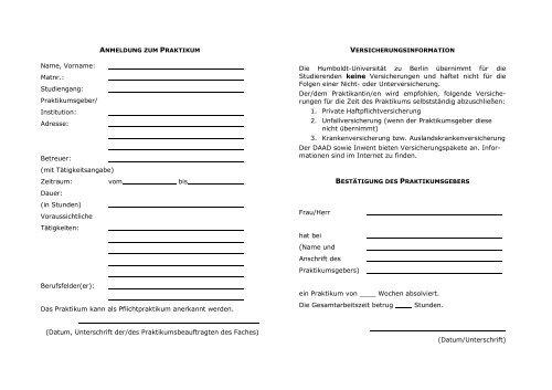 Praktikumsnachweis - Institut für Kunst- und Bildgeschichte