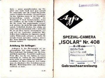 Bedienungsanleitung Agfa Isolar Nr. 408 - Museum Digital