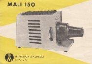 Bedienungsanleitung für Diaprojektor Mali 150 - Museum Digital