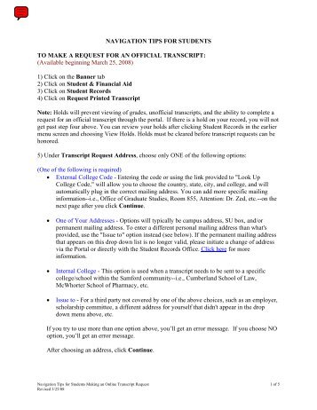 Detailed instructions on how to complete the online transcript request