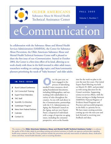 eCommunication Fall 2005 - Substance Abuse and Mental Health ...