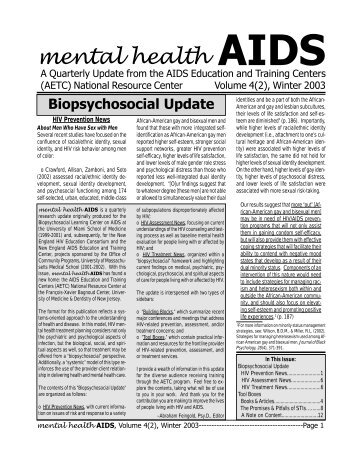 Mental Health Aids. Winter 2003. - Substance Abuse and Mental ...