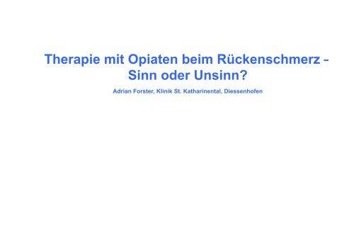 Opiate Schmerztherapie Forster - bei der SAMM