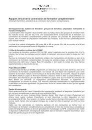 Rapport annuel de la commission de formation complémentaire 2009
