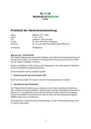Protokoll der GV vom 27.11.2008 - bei der SAMM