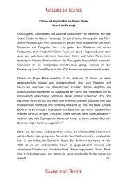 Kultur und Gastlichkeit im Grand Elysée Kunst mit ... - Sammlung Block