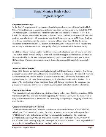 Santa Monica High School Progress Report