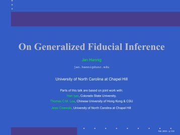 On Generalized Fiducial Inference - SAMSI