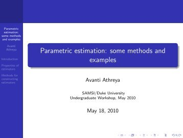 Parametric estimation: some methods and examples - SAMSI