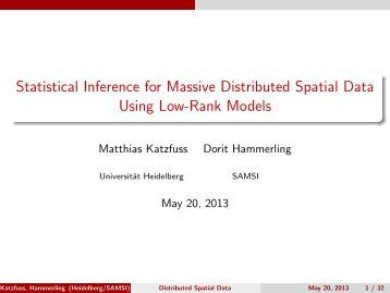 Statistical Inference for Massive Distributed Spatial Data ... - SAMSI