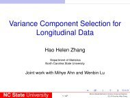 Variance Component Selection in Linear Mixed Models - SAMSI
