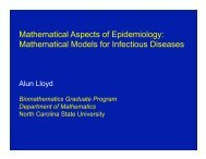 Mathematical Models for Infectious Diseases - SAMSI