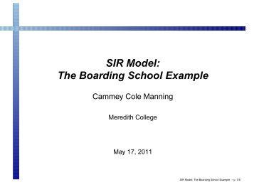 SIR Model: The Boarding School Example - SAMSI